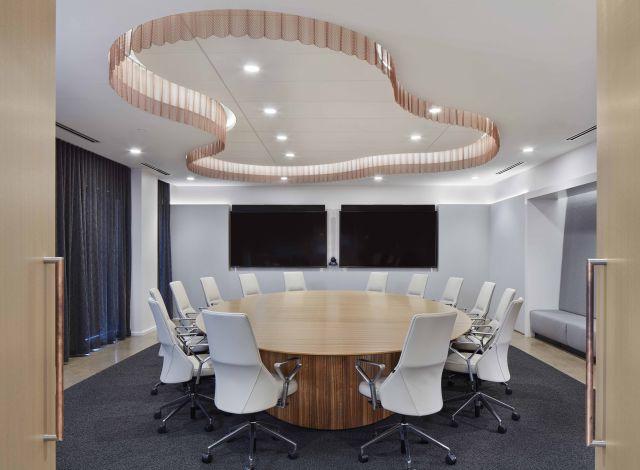 Flow Conference Table | Custom | Paldao Veneer | Round Top | Dealer: Atmosphere Designer: Studio BV