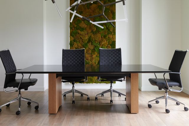 Flow | Conference Table | Black Glass Top | Oak Linea Rectangle Base | With Chairs