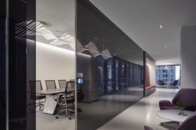 Flow | Conference Table | Custom | Cerused Oak Veneer Top | Custom Base | CNA Headquarters | Photograhy: Tom Harris