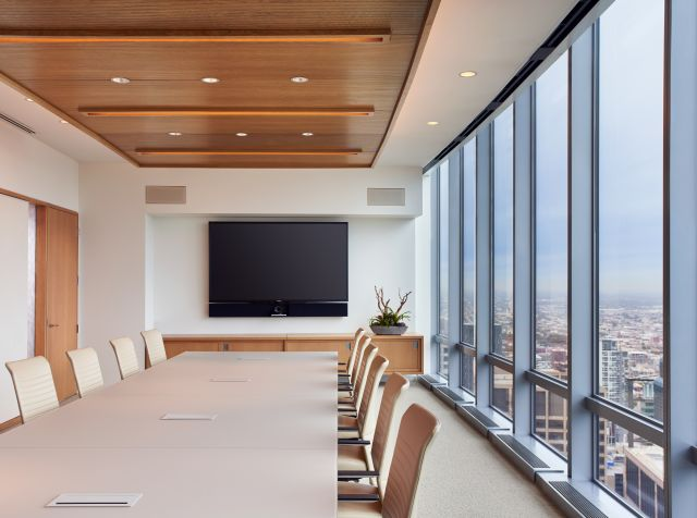 Flow | Conference Table | QS Quill Backpainted Glass Top | Prominent National Law Firm | Photography by: Christopher Barrett