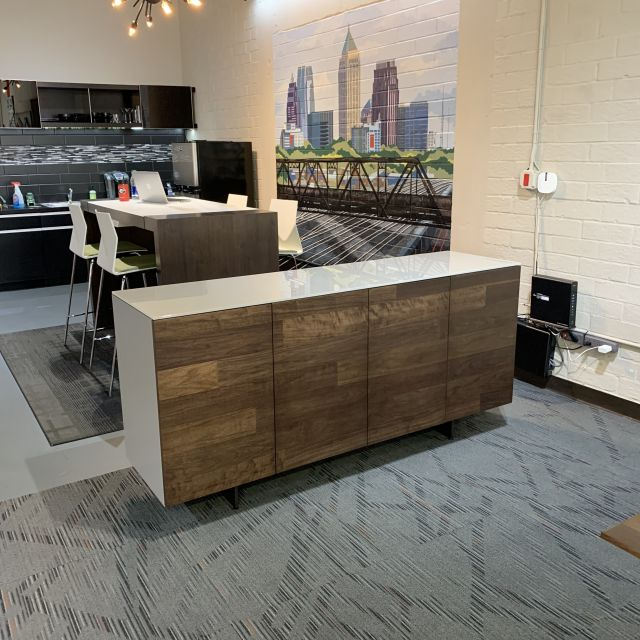 Flow Credenza | White Gloss Glass Top | Planked Veneer Case | Blade Base | RS Reps Showroom
