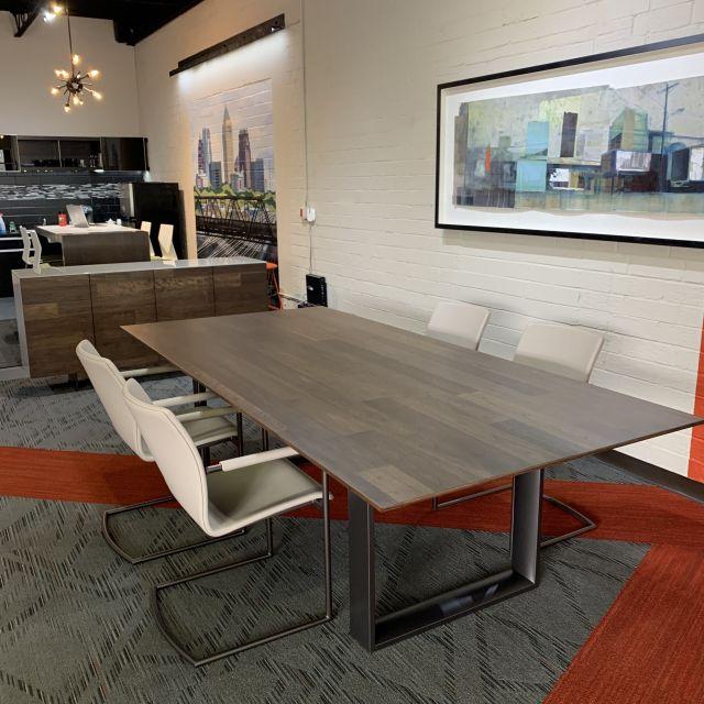 Flow | Conference Table | Planked Walnut Veneer Top | Storm Powdercoat Hoop Base | RS Rep Showroom