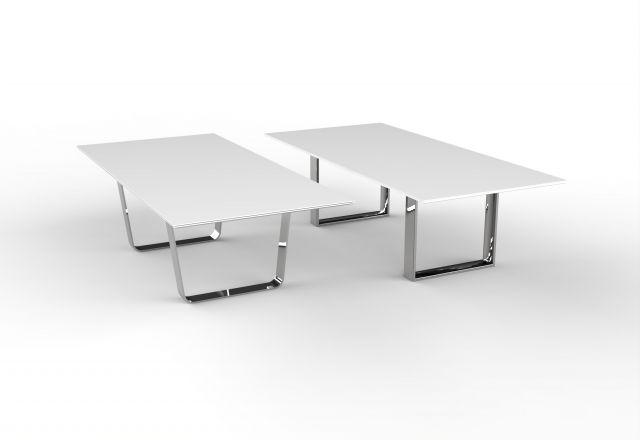 Flow vs Baja | Hoop Base | White Satin Glass Top | Polished Chrome Base