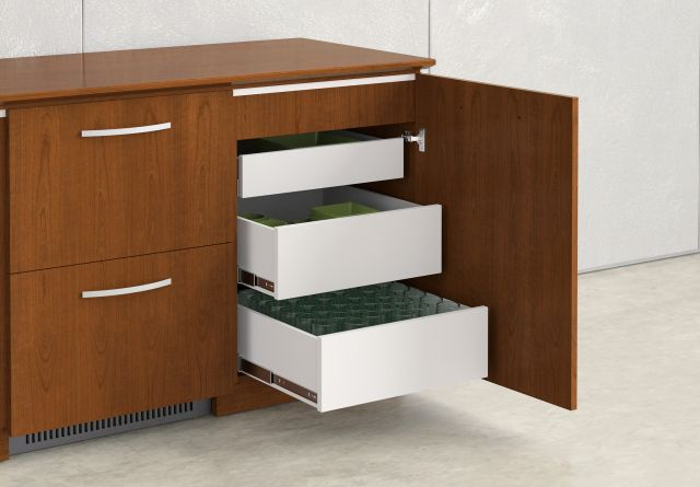 Performance Credenza | Veneer | Food Service | Open Drawers