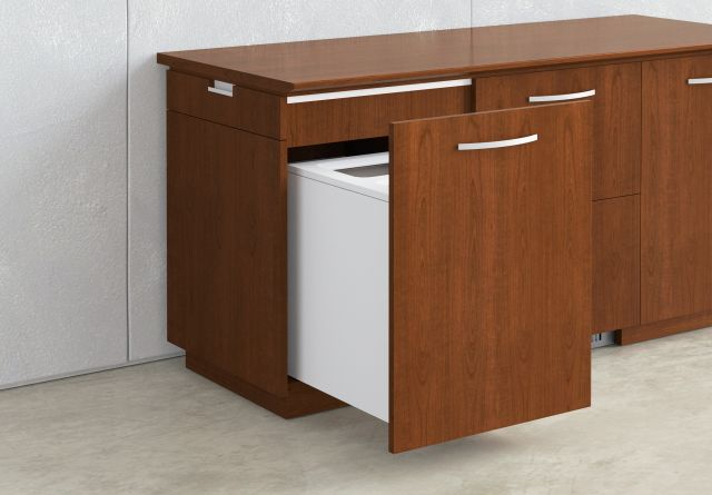 Performance Credenza | Food Service | Veneer | Trash and Recycling