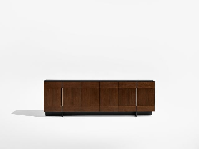 Forena | Buffet Height Credenza | M33 Mocha Walnut Veneer | Black Satin Etched Glass Top