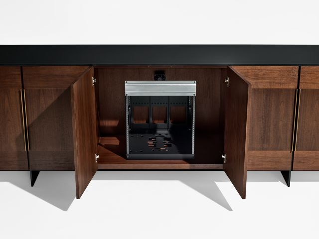 Forena | Buffet Height Credenza | M33 Mocha Walnut Veneer | Black Satin Etched Glass Top | Equipment Racking
