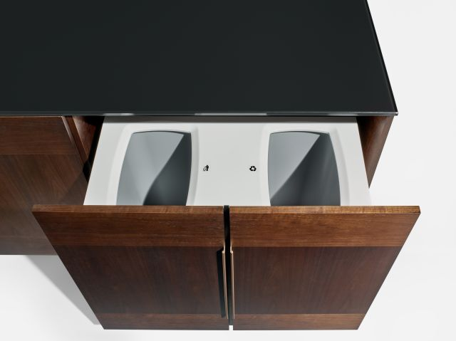 Forena | Buffet Height Credenza | M33 Mocha Walnut Veneer | Black Satin Etched Glass Top | Trash / Recycling