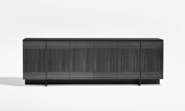 Forena | Buffet Height Credenza | Char Ash Veneer Doors (Combination Layup) | Black Glass Top | Bronze Pulls