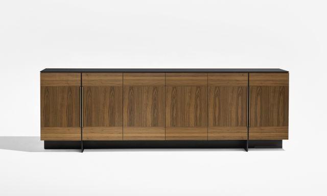 Forena | Buffet Height Credenza |Walnut Veneer Doors (Combination Layup) | Black Glass Top | Bronze Pulls