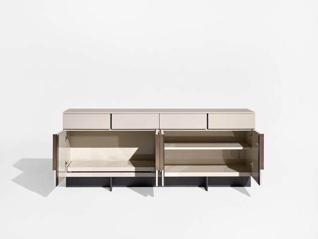 Forena | Conference Height Credenza | Lacquer Moonlight Case and Top | Storage