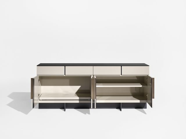 Forena | Conference Height Credenza | Black Satin Etched Glass Top | Moonlight Lacquered Polyester Case | Storage