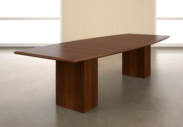 Forte   Conference Table   Boat Shaped Top with G95 Spring Cherry Veneer   G95 Spring Cherry Veneer Rectangle Base