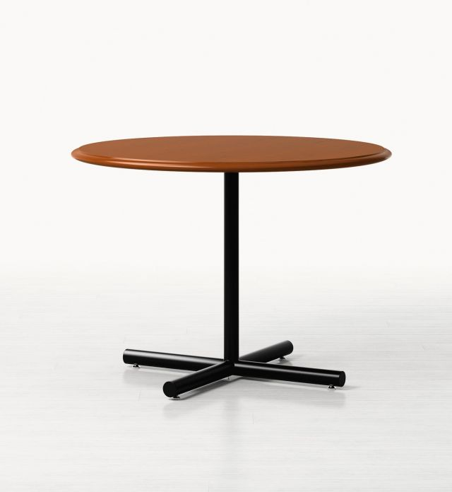 Forte   Meeting Table   Round G95 Spring Cherry Veneer   Black Chrome Tubular Metal Base