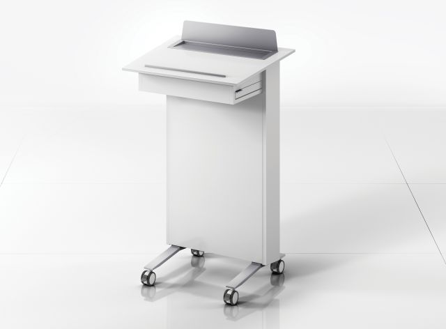 High Tech Lectern | Column | Cloud Painted Case | Clear Anodized Glides