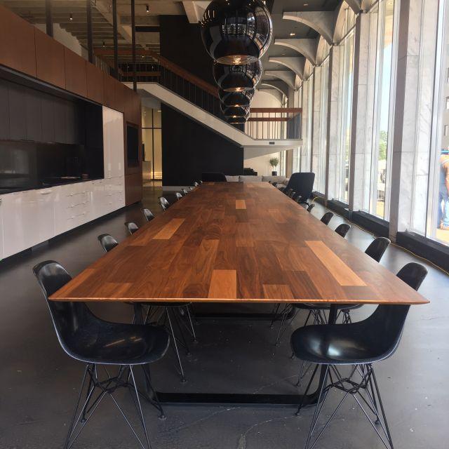 Baja   Conference Table   Rectangle Walnut Veneer Planked Top   Blackened Nickel Hoop Base   Hastings Architecture