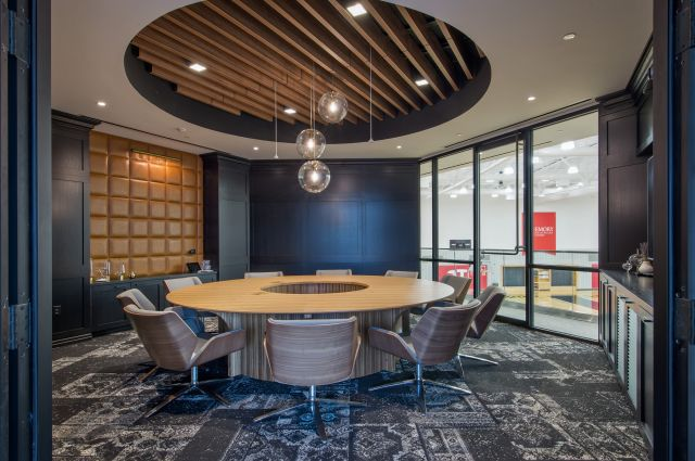 Flow | Conference Table | Custom | M76 Paldao Veneer Round Top with Cutout | Paldao Cylinder Base | Hawks Emory Owner's Loft