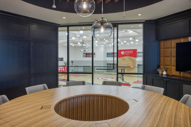 Flow | Conference Table | Custom | Round M76 Paldao Veneer Top with Cutout | Cylinder Base | Hawks Emory Owner's Loft