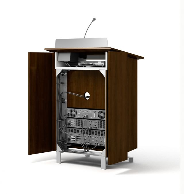 High Tech Lectern | M35 Marron Walnut Veneer | AV Equipment | Panel Open
