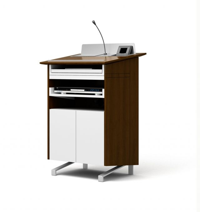 High Tech Lectern | Case | G31Otter Walnut | Clear Anodized Glides | Back View