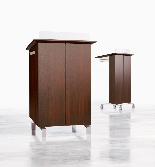High Tech Lectern | Case and Column | G25 Natural Walnut Veneer | Clear Anodized Glides and Casters