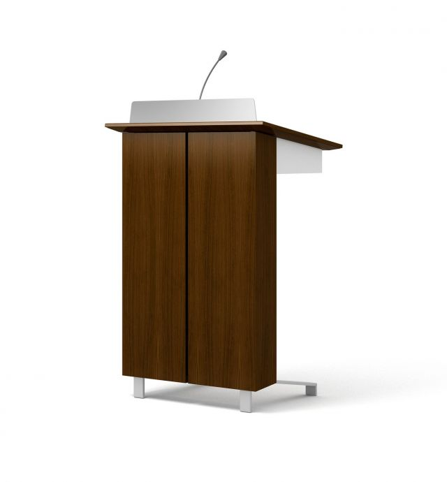High Tech Lectern | Column | G31Otter Veneer | Clear Anodized Glides | Front View