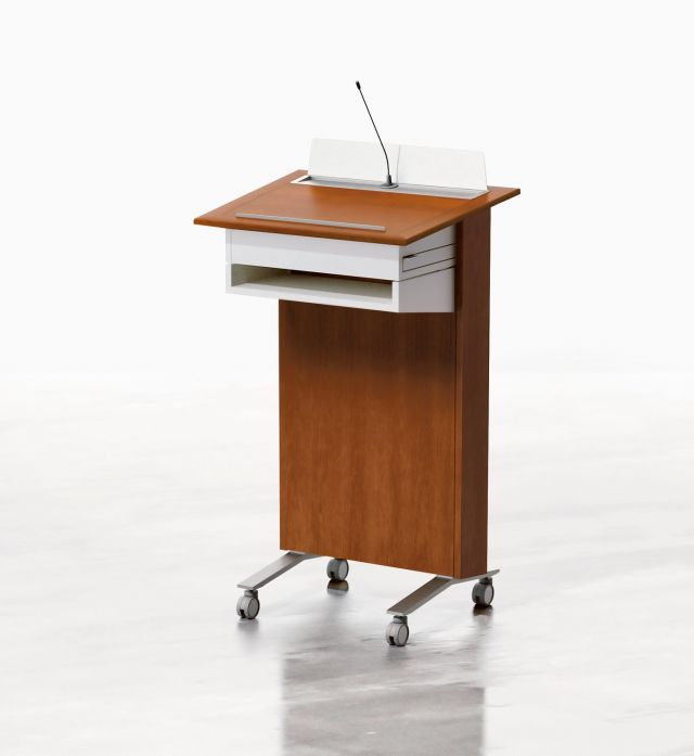 High Tech Lectern | Column | G20 Sherry Cherry Veneer | Clear Anodized Glides