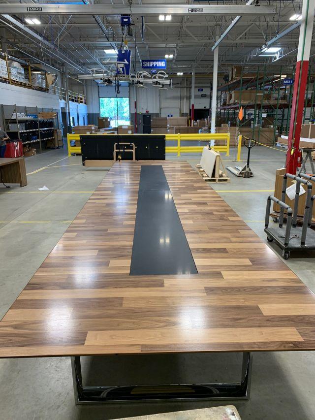 Custom | Flow | Planked Veneer Table | Hoop Base | Inset Stone