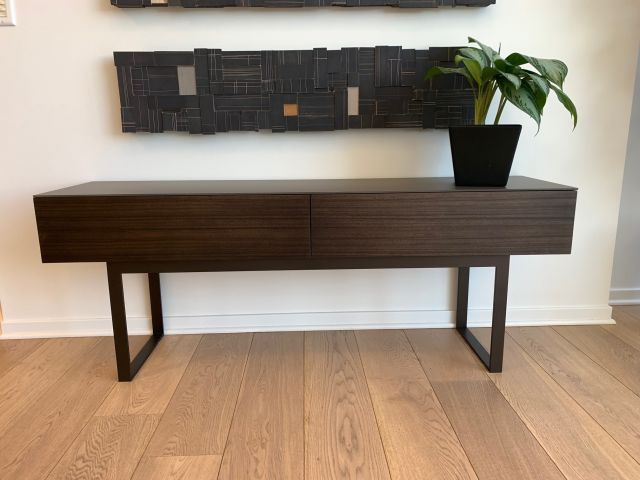 Emme | Drawer Console | Thicket Paldao | Aged Bronze Powdercoat Base