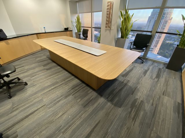 Flow XT | Conference Table |  Radius Rectangle Veneer  Top | Custom Veneer Island Base | Power Island