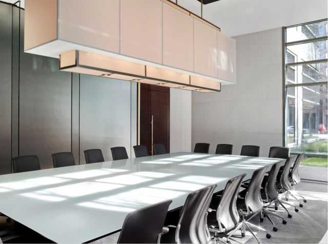 Flow | Custom | White Back Painted Glass Top | Atlanta Law Firm