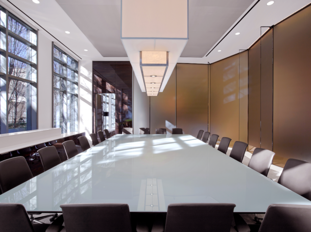 Flow | Custom | White Back Painted Glass | Atlanta Law Firm