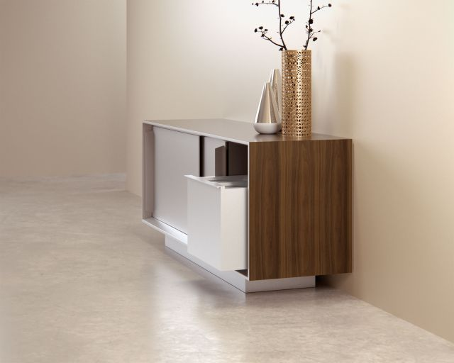 Kai | Credenza | G31 Otter Walnut Veneer | Burnished Powdercoat Door | Trash Receptacle