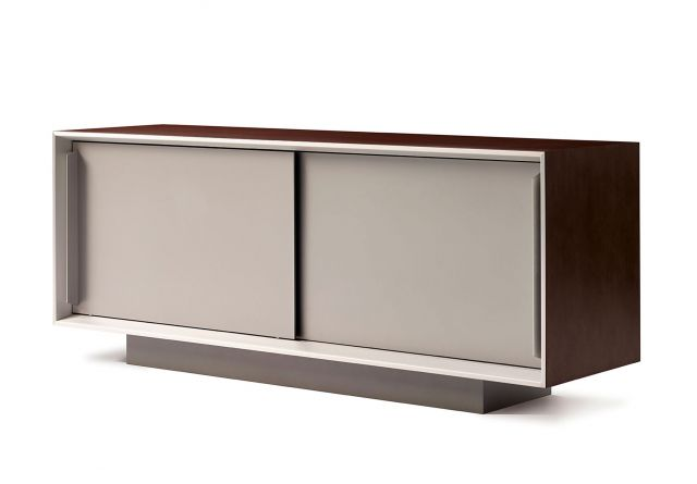 Kai | Credenza | Veneer Top | Foil Powdercoat Doors | Angled View