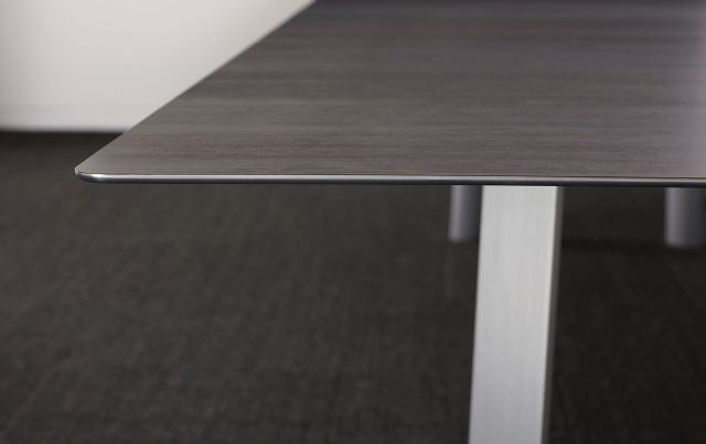 Kai | Conference Table | G30 Zinc Walnut Veneer Rectangle Top | Edge Detail