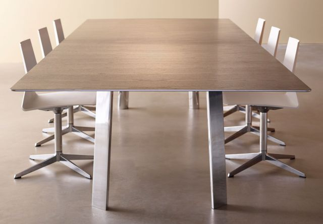 Kai | Conference Table | Veneer Top | Polished Chrome Metal Legs