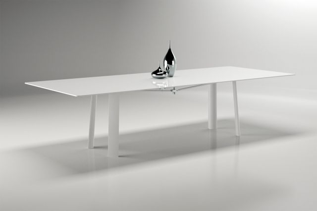 Kai | Conference Table | WG White Glass Top | Cloud Powdercoat Metal Legs