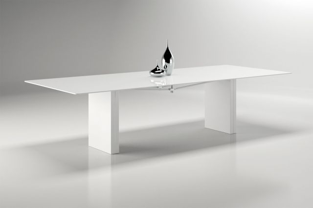 Kai | Conference Table | WG White Glass Top | Cloud Powdercoat Rectangle Base