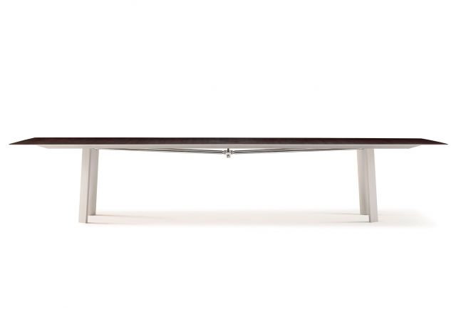 Kai | Conference Table | M26 Walnut Veneer Top | Clear Anodized Metal Legs | Polished Chrome Camber Rail