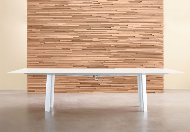 Kai | Conference Table | White Gloss Glass Top | Cloud Powdercoat Metal Legs and Camber Rail