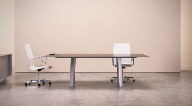 Kai | Conference Table | Rectangle Veneer Top | Clear Anodized Metal Legs | WIthout Camber Rail