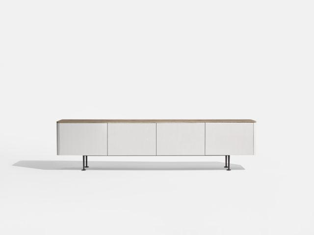 MYNE | Credenza | M44 Blanco Veneer | Riverbed Corian Top | Aged Bronze Powdercoat Legs