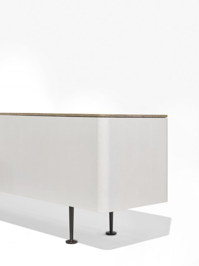 MYNE | Credenza | M44 Blanco Veneer | Riverbed Corian Top | Aged Bronze Powdercoat Legs | Edge Detail