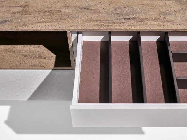 MYNE | Credenza | M44 Blanco Veneer | Riverbed Corian Top | Drawer Detail