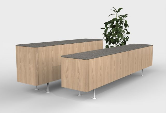 MYNE Meeting | Credenzas | Dune Veneer | Low Height and Conference Height | Stone Top