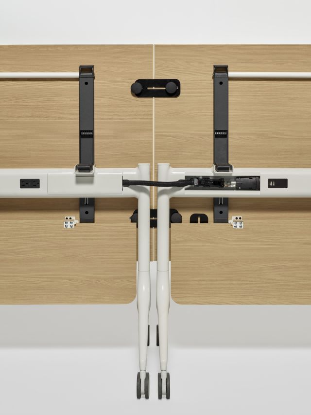 MYNE In | Training Table | Natural Ash Laminate | Power Beam and Jumper | With and Without Cover