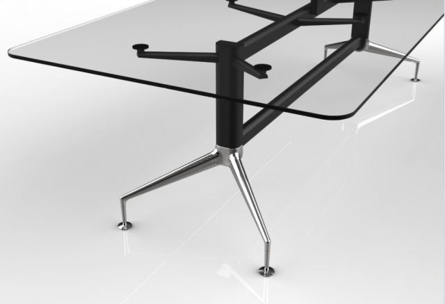 MYNE Meeting | Meeting Table | Clear Glass | Black Powdercoat Base | Polished Chrome Legs