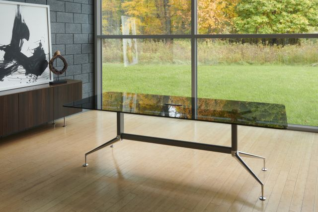 MYNE | Meeting Table | Smoked Glass Top | Storm Powdercoat Base | Polished Chrome Glides | MYNE Credenza