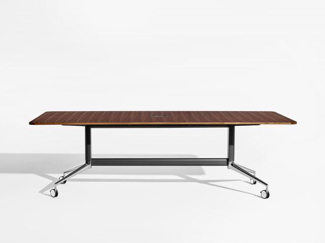 MYNE Meeting | Conference Table | Veneer Top | Black Powdercoat Base | Polished Chrome Feet | Casters