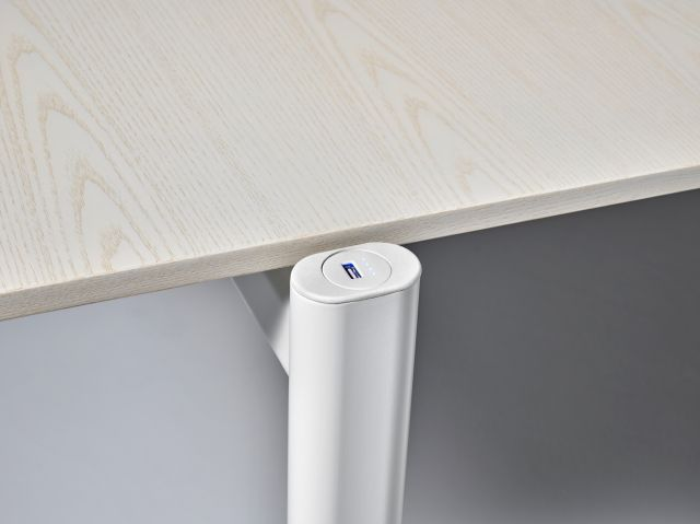 MYNE Out | Training Table | Ash Blanco Veneer | Cloud Powdercoat Base | USB / LED Battery Indicator Charging Cap